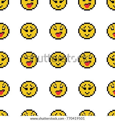 emoticons smile people faces vector seamless stock vector 770419501