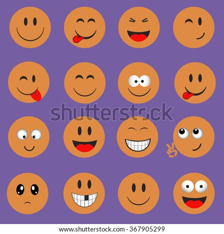 Emoticons. Smileys icons set. Emoji face vector on purple background