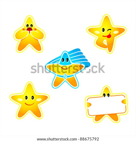 Emotion, banner and super hero star stickers isolated - stock vector