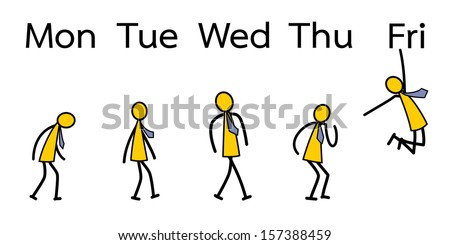 Emotion of business people from Monday to Friday. Vector illustration. - stock vector