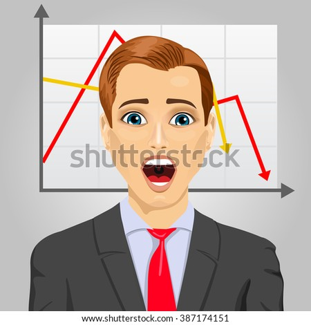 emotional crying businessman in economic crisis with line graph showing negative trend - stock vector