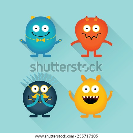 Emotional funny monsters in flat style with long shadow - stock vector