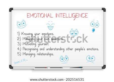 Emotional intelligence concept on a whiteboard. - stock vector