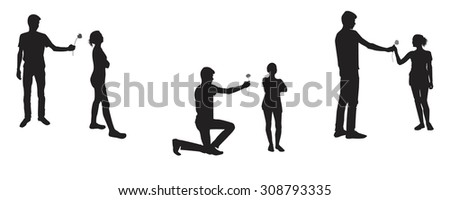 Emotional silhouette. Silhouette young boy and girl - reconciliation - stock vector