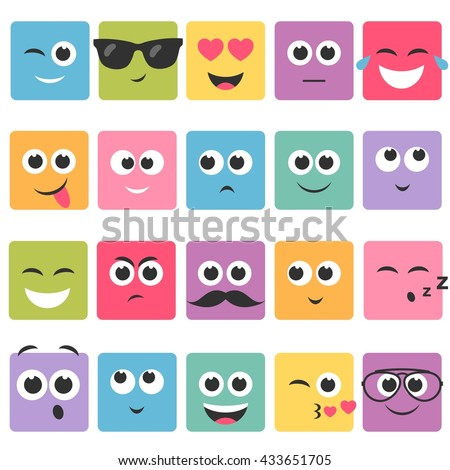Emotional square colorful faces icon set - stock vector