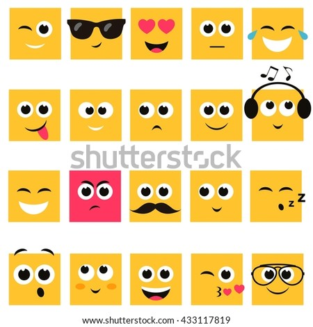 Emotional square yellow faces icon set - stock vector