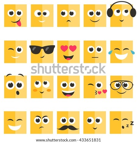 Emotional square yellow faces set - stock vector