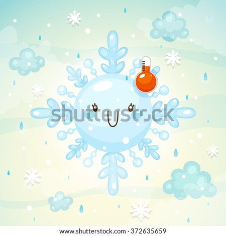 Emotional weather, happy snowflake with thermometer, normal temperature, children's illustration, cartoon style, vector. - stock vector