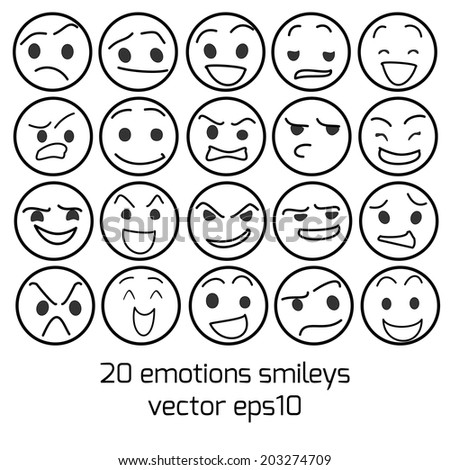 emotions and smileys vector collection - stock vector