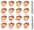 Emotions. Cartoon facial expressions set. ( natural, calm, resentful, playful, frightened, sad, satisfied, ailing, thoughtful, jolly, crying, angry, funny, enamored, astonished, laughing ) Hand-drawn - stock photo