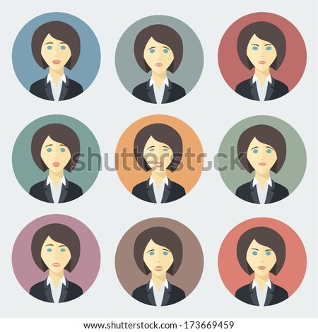 Emotions of Business Woman - Colorful Circle Icons Set in Trendy Flat Style