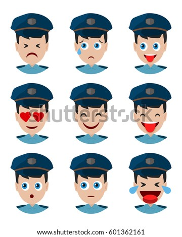 Emotions policeman icon. Set expressions avatar cop. Face constable police