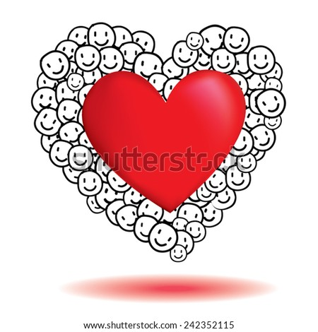 emotions smile heart love happy vector Valentine day   - stock vector