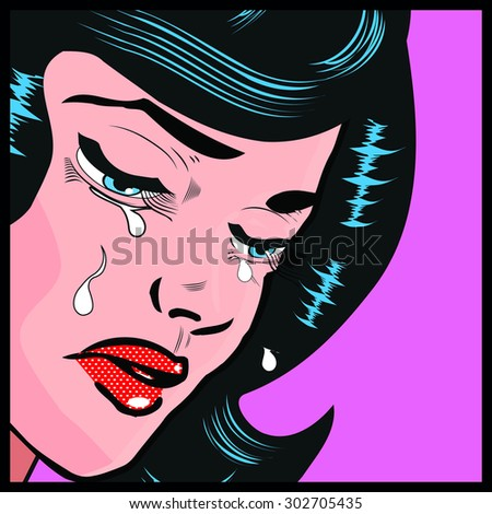 emotions woman cry  popart pin-up illustration - stock vector