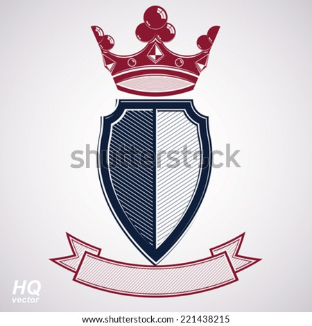Empire design element. Heraldic royal coronet illustration - imperial striped decorative coat of arms. Luxury vector shield with king red crown and undulate festive ribbon. - stock vector