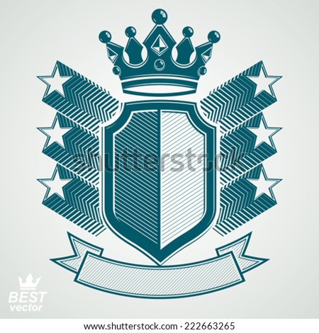 Empire stylized vector graphic symbol. Shield with 3d flying stars and imperial crown. Clear eps8 coat of arms - security idea. Elegant coronet, web design icon.