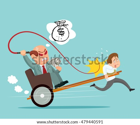 Employee are carrying the rich boss, vector illustration cartoon