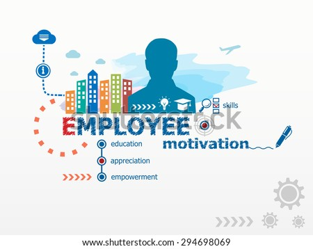 Employee motivation concept and business man. Flat design illustration for business, consulting, finance, management, career. - stock vector