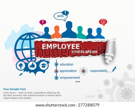 Employee motivation concept and group of people. Set of flat design illustration concepts for business, consulting, finance, management, career, human resources.  . - stock vector