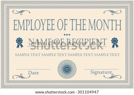 Employee month certificate illustration vector stock vector employee of the month certificate illustration vector yadclub Gallery