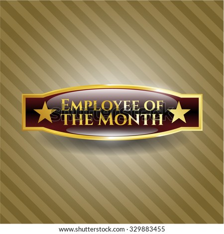 Employee of the Month gold badge - stock vector