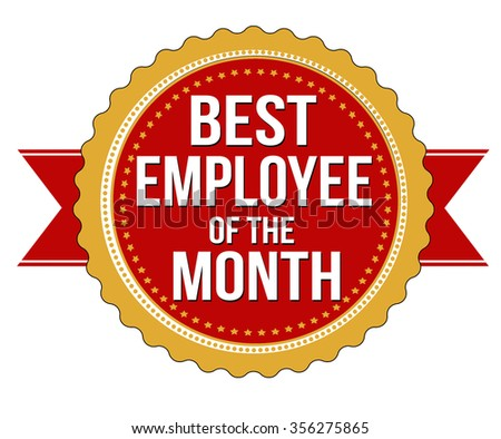 Employee of the month label or stamp on white background, vector illustration - stock vector