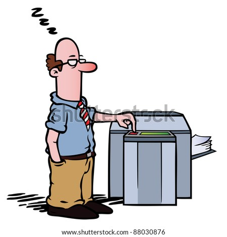 Employee standing half asleep at the copy machine, waiting for documents to be photocopied. - stock vector