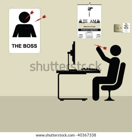 Employee throwing darts at a poster of the boss - stock vector