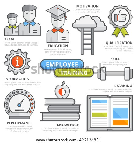 Employee training design concept, team, education, motivation, qualification, skill, information, learning, performance, knowledge, coaching. Isolated vector illustration, Infographic template. - stock vector
