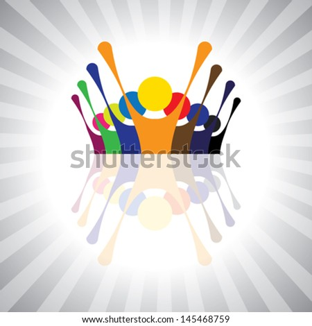 employee union protest or kids having fun together- simple vector graphic. This illustration can also represent children playing,workers demonstration,excited people,animated people,festive mood - stock vector