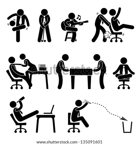 Employee Worker Staff Office Workplace Having Fun Playing Stick Figure Pictogram Icon - stock vector