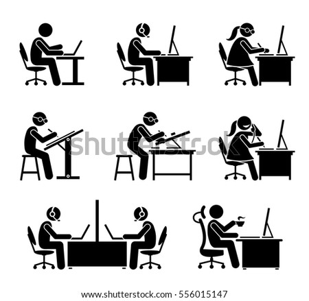 Employee Working Computer Laptop Office These Stock Vector