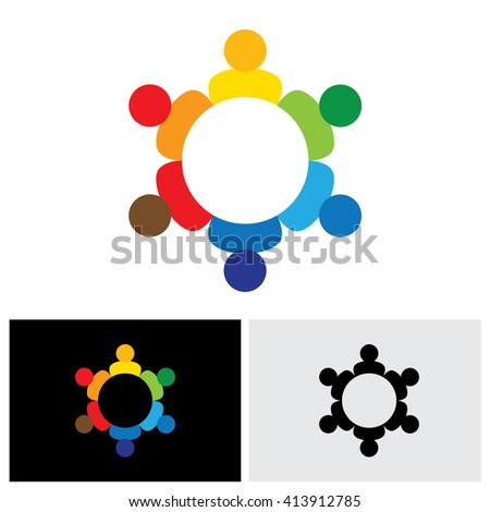 employees business meeting or brainstorming - vector logo icon. This graphic also represents harmony, balance, kids & children, community, company meeting, brainstorming, solidarity, togetherness - stock vector