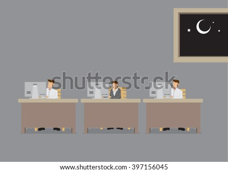 Employees busy working in front of computer in office at night. Vector cartoon illustration on concept for working overtime or long extended work hours isolated on plain background. - stock vector