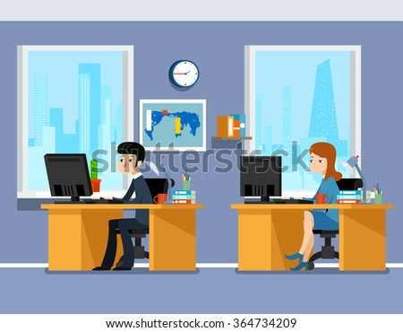 Employees, creative team working in the office. Work professional manager man and woman. Working in office vector illustration business concept in flat style - stock vector