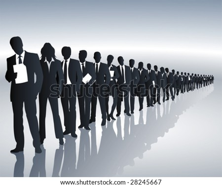 employees of a company form a queue - stock vector