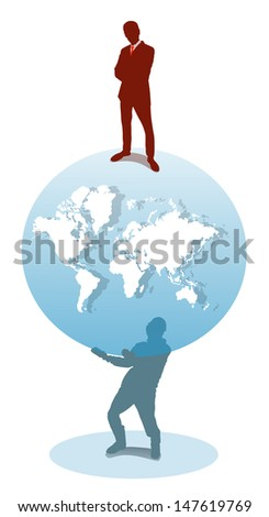 employer and the subordinate, silhouettes of people with globe - stock vector