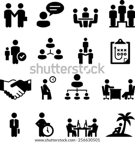 Employment, Human Resources, and work related icons. Vector icons for digital and print projects. - stock vector