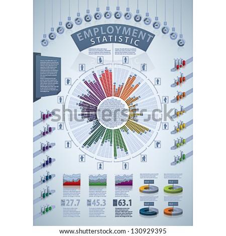 Employment Stats.Light blue background Info-graphic vector template designed with a dummy text. Some transparency objects (charts, maps and other objects reflex and shadows)