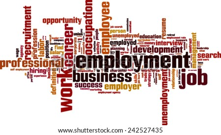 Employment word cloud concept. Vector illustration - stock vector