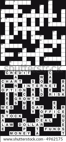 Empty and solved business crossword - stock vector
