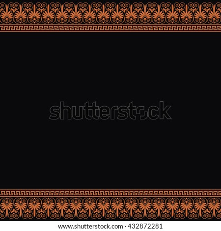 Empty backdrop with ethnic design. Greek traditional borders. In orange color isolated on black background. Vector illustrations. - stock vector