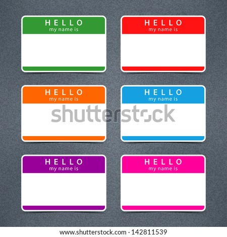 Empty badge name tag HELLO my name is. Color blank stickers white label with black shadow with gray grainy noise effect texture background. Vector illustration design element 10 eps - stock vector