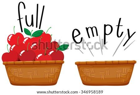 Empty basket and basket full of apples illustration - stock vector
