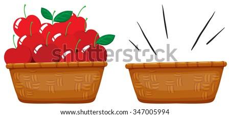 Empty Basket Basket Full Apples Illustration Stock Vector ...