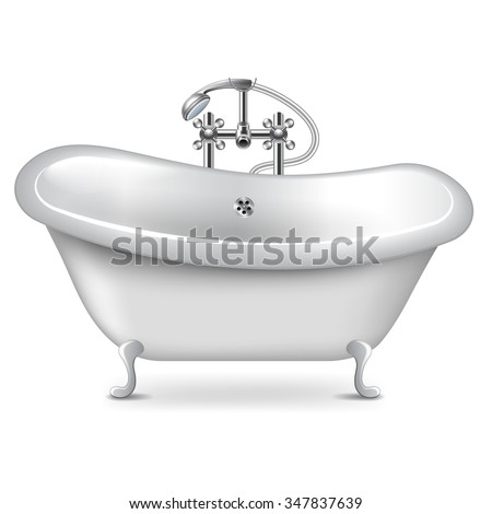 Empty bath isolated on white photo-realistic vector illustration - stock vector