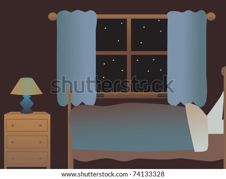 Empty bedroom at night side view vector illustration - stock vector