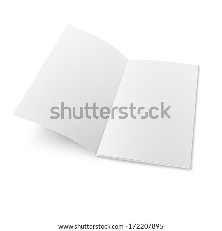 Empty bi-fold booklet template on white background, laying, four pages. Vector illustration. EPS10. - stock vector