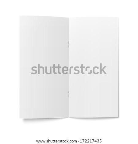 Empty bi-fold booklet template with clips on white background, pure. Vector illustration. EPS10. - stock vector