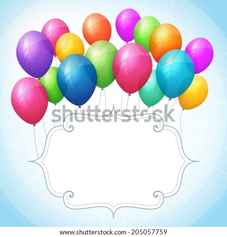 empty birthday blue vector background with colorful balloons. isolated from background. - stock vector